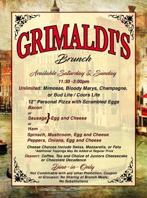 Grimaldi's Brunch Menu